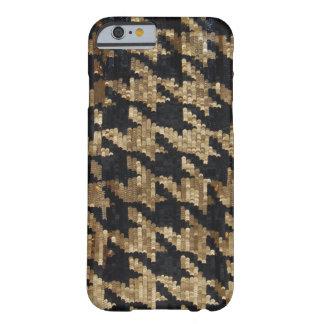 千鳥格子のな金ゴールドおよび黒いスパンコール BARELY THERE iPhone 6 ケース