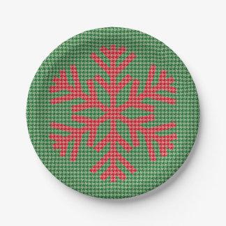 千鳥格子のな雪片の紙皿-緑 ペーパープレート
