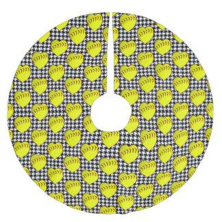 千鳥格子ののソフトボール愛パターン ブラッシュドポリエステルツリースカート