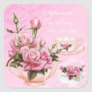 午後のお茶のパーティーのピンクのモモのばら色の花のティーポット スクエアシール