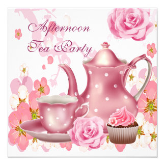午後のお茶のパーティーのヴィンテージのピンクのバラのティーポット カード