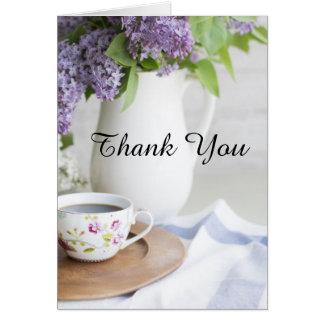 午後のお茶の薄紫の花は感謝していしています カード