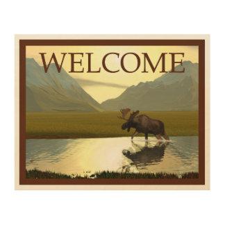 午後のアメリカヘラジカ-歓迎 ウッドウォールアート