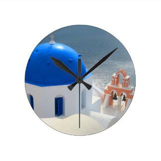 午後日曜日Santorini教会 ラウンド壁時計