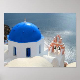 午後日曜日Santorini ポスター