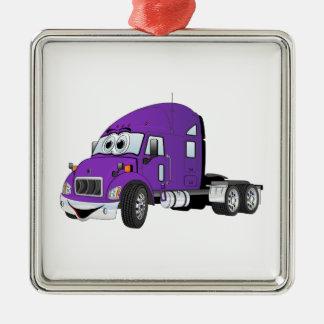 半トラックのタクシーの紫色 メタルオーナメント