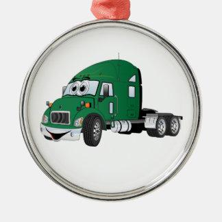 半トラックのタクシーの緑 メタルオーナメント