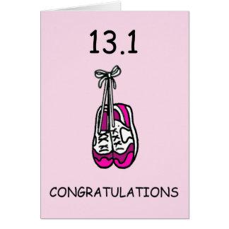 半分のマラソンの女性のお祝い カード