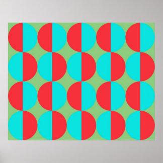 半分の青および赤によるオップアートの大きい円 ポスター