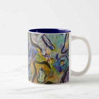 半狂乱のオンドリのファンキーなアクリルの抽象芸術 ツートーンマグカップ