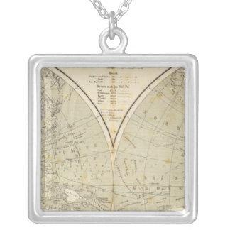 半球の地図書の地図 シルバープレートネックレス