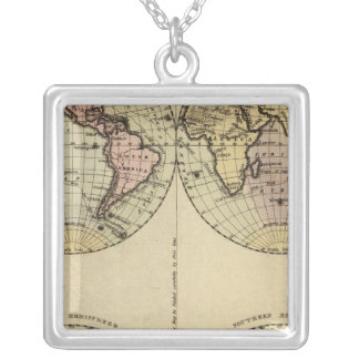 半球は着色された地図書の地図を渡します シルバープレートネックレス