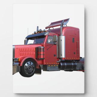 半赤のトラクターのTralerの金属トラック フォトプラーク