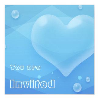 半透明で青いハート及び泡水グラデーション カード
