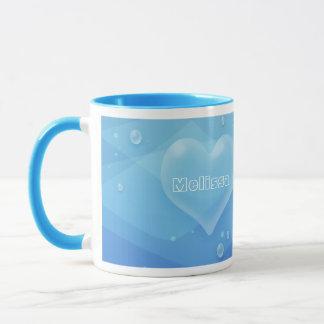 半透明で青いハート及び泡水グラデーション マグカップ