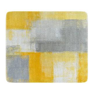 「卑劣な」灰色および黄色の抽象美術 カッティングボード