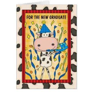 卒業のお祝いの大学院の漫画牛 カード