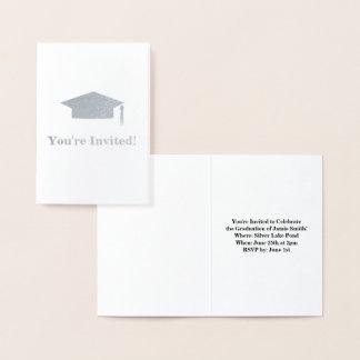 卒業のパーティの招待状カード 箔カード