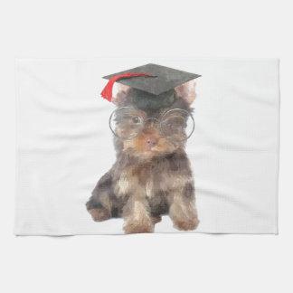 卒業のヨークシャテリア キッチンタオル