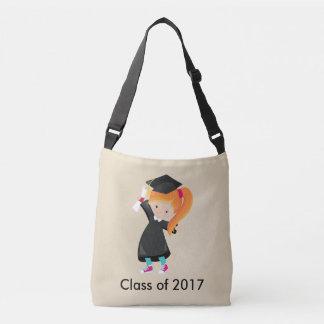 卒業の女性の赤い毛の帽子のガウンの免状のクラス クロスボディバッグ