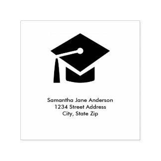 卒業の帽子の正方形-住所スタンプに自己インクをしみ込ませること セルフインキングスタンプ