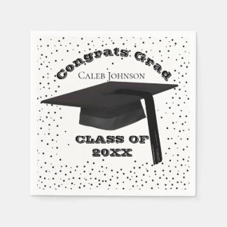 卒業の帽子の紙吹雪のナプキン スタンダードカクテルナプキン