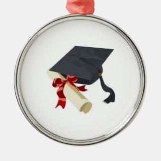 卒業の帽子及び免状のオーナメント シルバーカラー丸型オーナメント