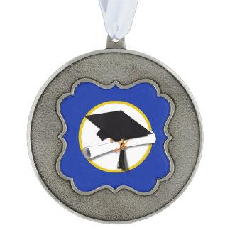 卒業の帽子w/Diploma -濃紺の背景 オーナメント