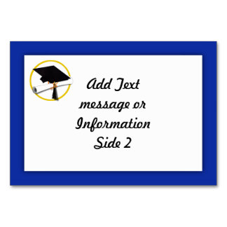 卒業の帽子w/Diploma -濃紺の背景 カード