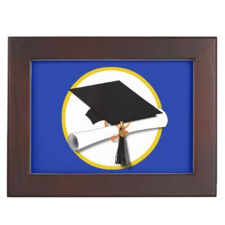 卒業の帽子w/Diploma -濃紺の背景 ジュエリーボックス
