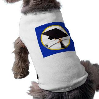 卒業の帽子w/Diploma -濃紺の背景 ペット服