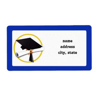 卒業の帽子w/Diploma -濃紺の背景 ラベル