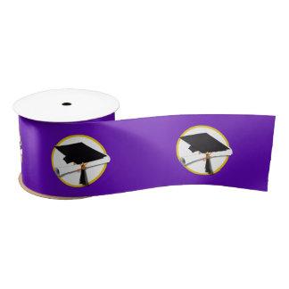 卒業の帽子w/Diploma -紫色の背景 サテンリボン