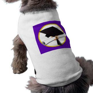 卒業の帽子w/Diploma -紫色の背景 ペット服