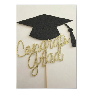 卒業の招待の帽子そしておめでとうの卒業生 カード