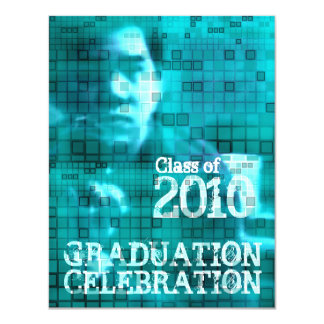 卒業の招待状の写真の挿入物のモザイク青1 カード