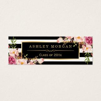 卒業の挿入物カード花の白黒のストライプ スキニー名刺
