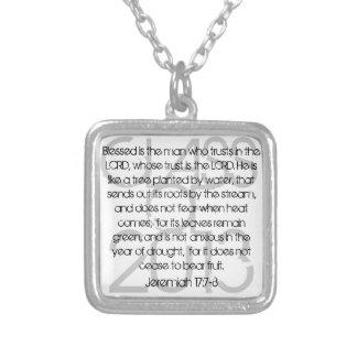 卒業の聖書の詩のジェレミアの17:7 - 8ネックレス シルバープレートネックレス