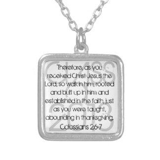 卒業の聖書の詩のColossiansの2:6 - 7ネックレス シルバープレートネックレス