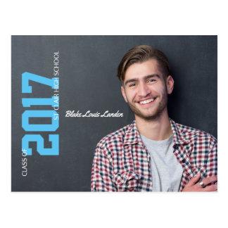 卒業の郵便はがきの発表 の青 ポストカード