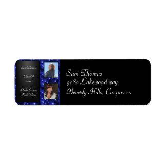 卒業の黒板2の写真の青いガラス泡 ラベル