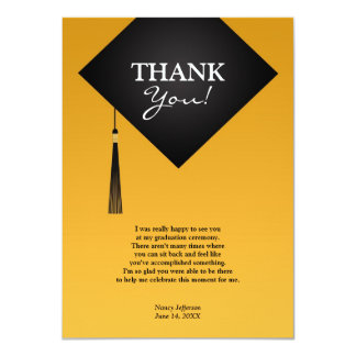 卒業のBlack Hat会議の平らなカードありがとう 11.4 X 15.9 インビテーションカード