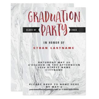 卒業パーティーの大理石の水彩画 カード