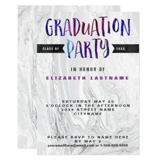 卒業パーティーの大理石の水彩画 12.7 X 17.8 インビテーションカード