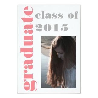 卒業パーティー|のエレガントな灰色のピンクの原稿の写真 12.7 X 17.8 インビテーションカード