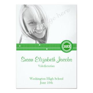 卒業パーティー-緑および白 11.4 X 15.9 インビテーションカード