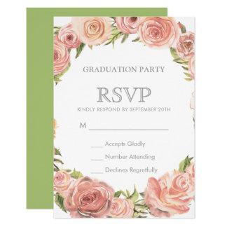 卒業パーティーRSVP  のロマンチックな水彩画のバラ カード