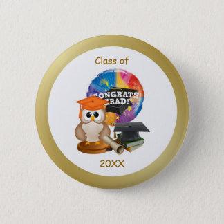 卒業ボタン。 フクロウ、乳鉢の帽子、免状、本 5.7CM 丸型バッジ