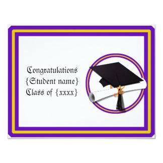卒業生の免状の学校は紫色および金ゴールドを着色します 10.8 X 14 インビテーションカード