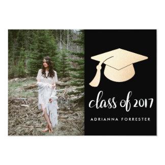 卒業生の原稿のばら色の金ゴールドホイルの卒業の帽子の写真 カード